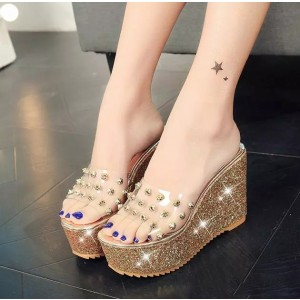 Gold and Clear Heels Glitter Open Toe Slides Rivets Platform Sandals