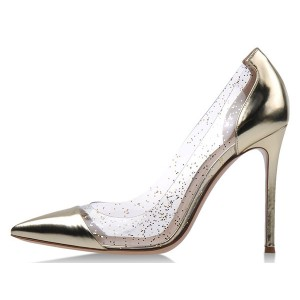 Women's Champagne Clear Heels Stiletto Pumps
