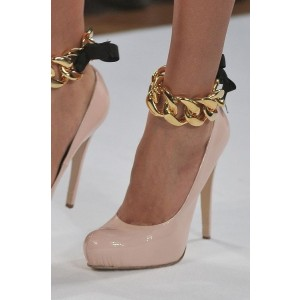 Women's Pink Metal Ankle Strap Heels Stiletto Pump Heels