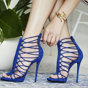 Royal Blue Stiletto Heels Gladiator Sandals Zipper Strappy Sandals