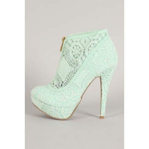 Women's Pale Green Platform Heels Lace Ankle Booties