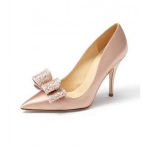Women's Blush Heels Stiletto Pumps with Sequined Bow