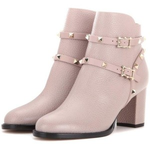 Women's Blush Fashion Boots Chunky Heels Comfy Shoes with Rockstuds