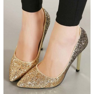 Women's Golden Glitter Shoes Pointed Toe Stiletto Heels Wedding Shoes