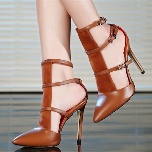 Tan Sandals Multi-straps Buckles Closed Toe Stiletto Heel Pumps