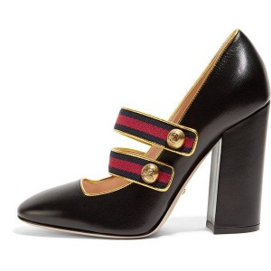 Women's Black Mary Jane Pumps Pointy Toe Chunky Heels