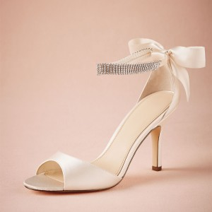 Ivory Satin Bridal Heels Peep Toe Ankle Strap Back Bow Sandals