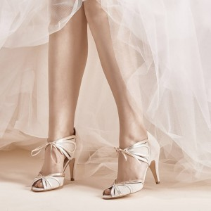 Women's White Hollow Out Lace Up Stiletto Heel Bridal Heels Pumps