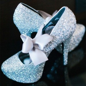 Women's Light Blue Glitter Bow platform Stiletto Bridal Heels Pumps