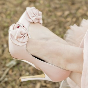 Women's Nude Platform Bow Stiletto Bridal Heels Pumps