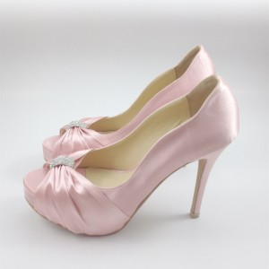 Women's Blush Rhinestone Bow Platform Bridal Heels Pumps