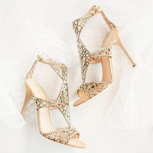 Golden Wedding Shoes Rhinestone Hollow Out Bridal Sandals for Women