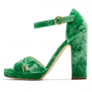 Women's Green Velvet Chunky Heels Open Toe Ankle Strap Sandals