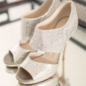 Women's Silver Glitter Stiletto Heel Wedding Sandals