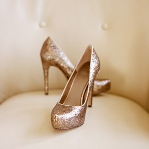 Women's Golden Glitter Platform Stiletto Heel Pumps Bridal Heels