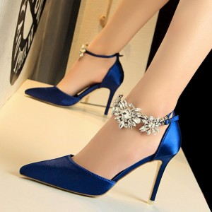 Women's Royal Blue Ankle Strap Pointy Toe Stiletto Heels Wedding Shoes