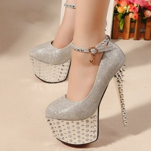 Women's Silver Rivets Stripper Heels Glitter Ankle Strap Platform Shoes