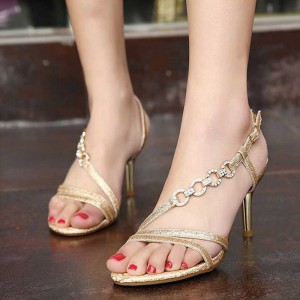 Women's Gold Rhinestone Buckle Open Toe Stiletto Heels Sandals