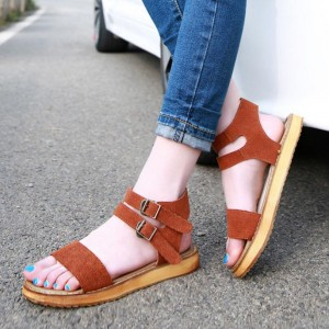 Women's Tan Ankle Buckle Wedge Sandals Comfortable Shoes