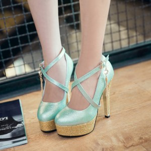 Women's Cyan Cross Ankle Strap Heels Golden Stiletto Heel Pumps