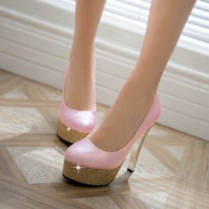 Pink Sparkly Heels Glitter Platform Stiletto Heel Pumps for Party