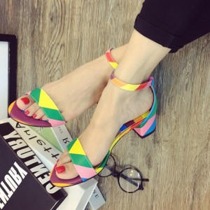 Rainbow Sandals Ankle Strap Open Toe Chunky Heels