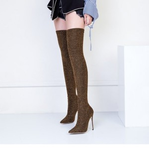 Brown Long Boots Pointy Toe Stiletto Heel Thigh High Boots