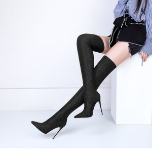 Women's Black Stiletto Heels Pointy Toe Suede Sexy Thigh-high Booties