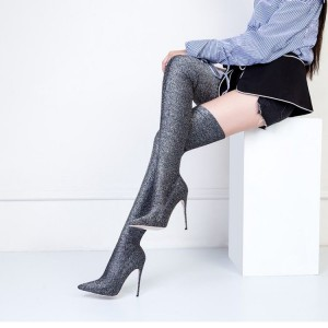 Women's Gray Stiletto Heels Pointy Toe Suede Sexy Thigh-high Booties