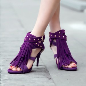 Purple Vegan Suede Fringe Sandals Open Toe Studs Shoes US Size 3-15