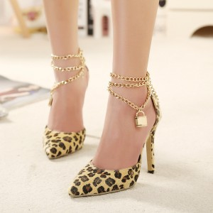 Women's Yellow Leopard Print Heels D'orsay Pumps with Metal Chain