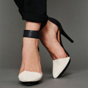 Women's Ivory Suede Black Ankle Strap Heels Vintage Shoes