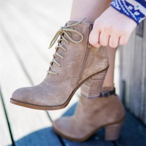 Women's Khaki Vintage Boots Block Heel Lace Up Ankle Booties
