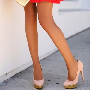 Women's Pink Almond Toe Golden Platform Heels Stiletto Heel Pumps