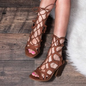 Women's Brown Open Toe Hollow-out Chunky Heels Lace Up Sandals
