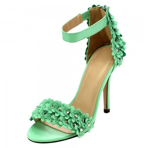 Green Floral Heels Ankle Strap Open Toe Stiletto Heels Sandals