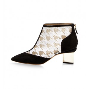 Black and White Chunky Heel Boots Houndstooth Suede Lace Ankle Boots