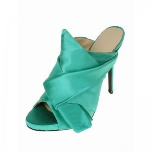 Women's Green Commuting Stiletto Heels Open Toe Mule Sandals