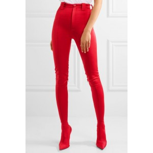 Women's Red Fashion Boots Sexy Stiletto Heels Satin Legging Boots