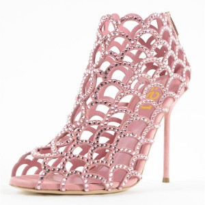 Women's Pink Rhinestone Bridal Heels Cage Sandals for Wedding