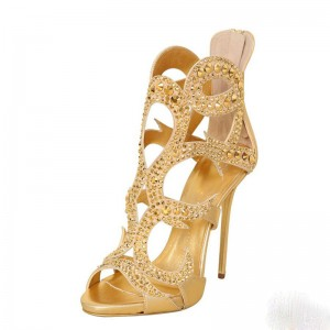 Gold Rhinestone Heels Luxury Cage Sandals for Party