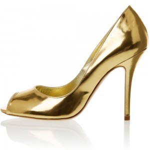 Gold Metallic Heels Peep Toe Pumps for Party