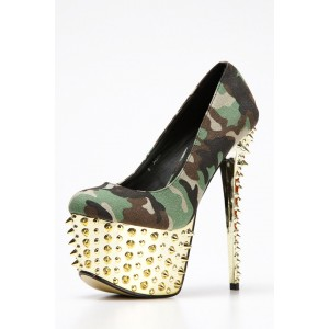 Women's Army Green Rivet  Stiletto Heels Platform Pumps