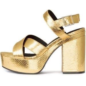Women's Golden Ankle Strap Buckle Platform Chunky Heel Sandals