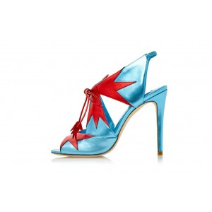 Blue and Red Lace up Heels Peep Toe Slingback Stiletto Pumps Heels