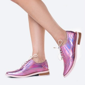 Pink Lace up Flats Women's Oxfords Patent Leather Vintage Shoes