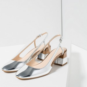 Women's Mirror Silver Block Heel Slingback Pumps