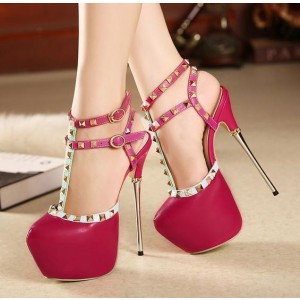 Red T Strap Pumps Rivets Sequined Almond Toe Platform Heels