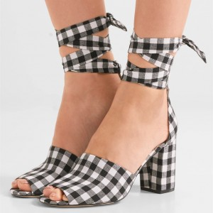 Women's Black and White Plaid Printed Strappy Chunky Heels Sandals