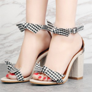Black and White Block Heel Sandals Plaid Ankle Bow Heels